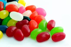 Jelly Beans. Multi-colored jelly beans, on a white background royalty free stock images