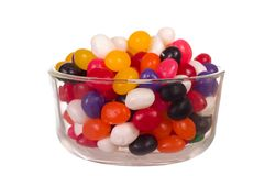 Jelly Beans. Bowl full of Jelly Beans isolated over white Royalty Free Stock Image