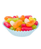 Jelly beans. In blue cup cake case Royalty Free Stock Photography
