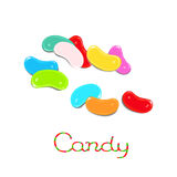 Jelly beans candy. Rainbowed scattered jelly bean candies isolated on white background Stock Images