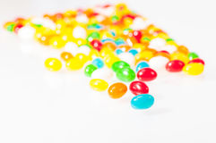Jelly beans close-up. Colorful Jelly beans over white background Royalty Free Stock Photos
