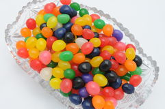 Jelly beans in a crystal dish Stock Photo