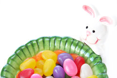 Jelly beans and Easter bunny Royalty Free Stock Images