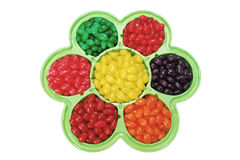 Jelly Beans in Flower Shaped Dish Royalty Free Stock Image