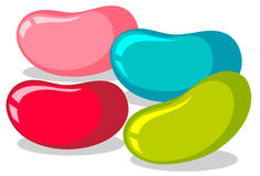 Jelly beans in four colors stock illustration