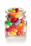 Jelly beans in glass jar Royalty Free Stock Photos