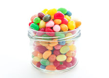 Jelly beans with glass jar Royalty Free Stock Image