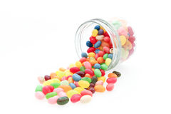 Jelly beans with glass jar Royalty Free Stock Photography