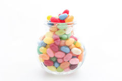 Jelly beans with glass jar Stock Images