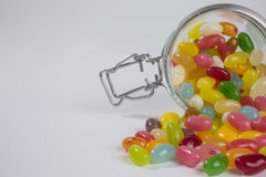 Jelly beans in glass jar Stock Photography