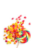Jelly beans and lollipop Royalty Free Stock Image