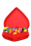 Jelly beans in a red heart box Stock Image