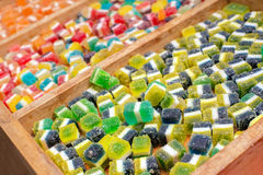 Jelly beans in various colors and tastes in the candy shop Stock Photography