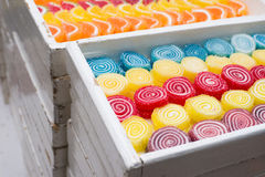 Jelly beans in various colors and tastes in the candy shop Stock Photo