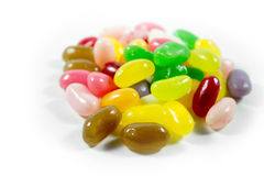 Jelly beans on white. Colorful jelly beans isolated on a white background Stock Photography
