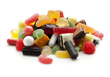 Jelly beans, wine gums and liquorice candy Royalty Free Stock Photos