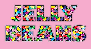 Jelly Beans Words on Pink Royalty Free Stock Photo