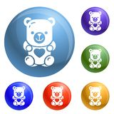 Jelly bear icons set vector vector illustration