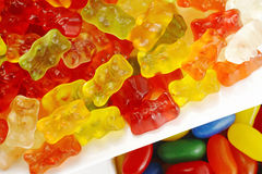 Jelly bears and jelly bean Royalty Free Stock Image