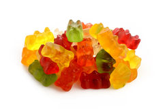 Jelly bears on white Stock Photos