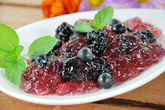 Jelly with berries Stock Images