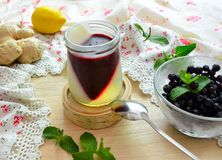 Jelly with berries, ginger and a lemon Royalty Free Stock Photo