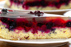 Jelly cake with fruits, raspberry blueberry, blackberry Royalty Free Stock Photography