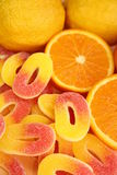 Jelly candies. Jelly orange and lemon candies coated in sugar Royalty Free Stock Image