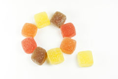 Jelly candies. Assorted fruit jellies in various formats Royalty Free Stock Image