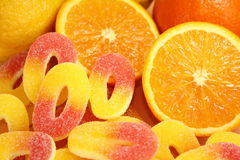 Jelly candies. Jelly orange and lemon candies coated in sugar Stock Image