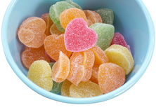 Jelly candies in bowl isolated on white Royalty Free Stock Photos