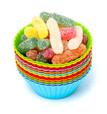 Jelly candies in cups Royalty Free Stock Photography