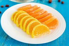 Jelly candies in form citrus slices covered with sugar Royalty Free Stock Photo