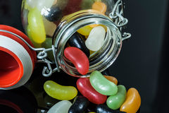 Jelly candies. A scattering of colorful jelly candies Royalty Free Stock Images