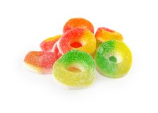 Jelly candies with sugar. Isolated on white background Royalty Free Stock Photo