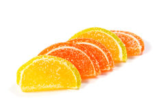 Jelly candies on white background. Gummy candy on a white Stock Photo