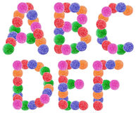 Jelly Candy Alphabet Letters. Jelly Alphabet Letters A-F Isolated On White royalty free stock images