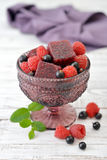 Jelly candy with fresh berries Stock Images