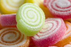 Jelly candy with sugar closeup shot Stock Photo