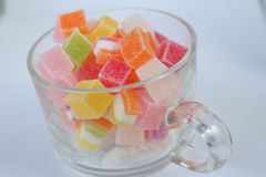 Jelly candy sweet in glass cup dessert Royalty Free Stock Images