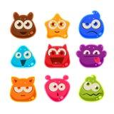 Jelly Characters colorée avec des émotions Illustration de vecteur Image stock