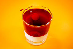 Jelly with cherry Stock Photo