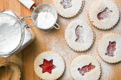 Jelly christmas cookies with icing sugar Royalty Free Stock Photography