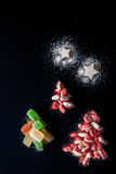 Jelly Christmas trees and sugar stars in the forms for biscuits vertical Royalty Free Stock Photography