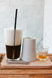 Jelly coffee for drink with milk and syrup Stock Image