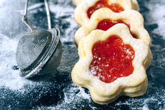 Jelly cookies flower with red jam homemade Stock Photography