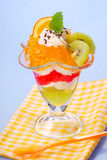 Jelly with cream and fruits Stock Images