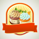 Jelly cream label. Orange jelly and chocolate jelly with cream on top Stock Image