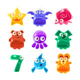 Jelly Creatures Set mignonne illustration stock