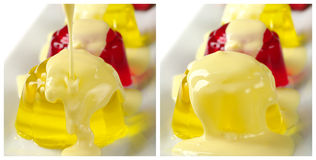 Jelly with Custard Stock Photo